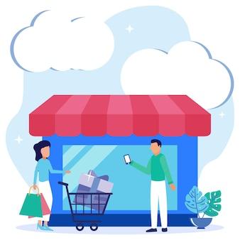 Illustrazione grafica vettoriale personaggio dei cartoni animati di shop