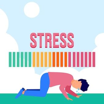 Illustrazione grafica vettoriale personaggio dei cartoni animati di stress