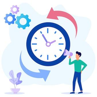 Illustrazione grafica vettoriale personaggio dei cartoni animati della gestione del tempo