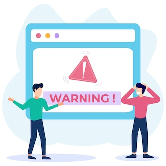 Illustrazione grafica vettoriale personaggio dei cartoni animati di avvertimento