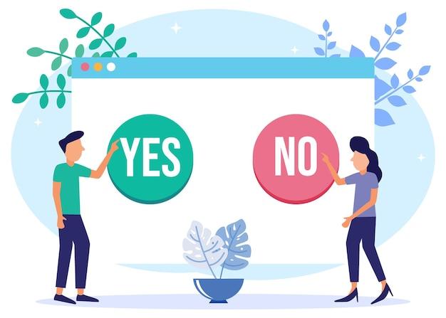 Personaggio dei cartoni animati grafico vettoriale illustrazione di sì o no