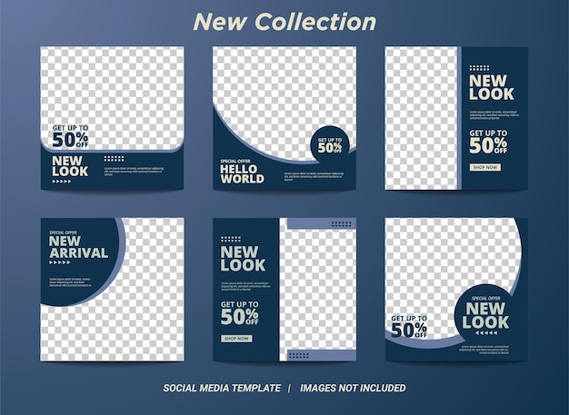 Illustrazione grafica vettoriale del set modello di banner quadrato modificabile. colore di sfondo blu e menta con forma della linea a strisce. adatto per post sui social media e annunci web o internet