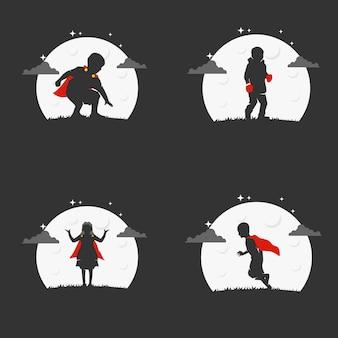 Illustrazione grafica vettoriale di super kids in night logo. perfetto da usare per education company