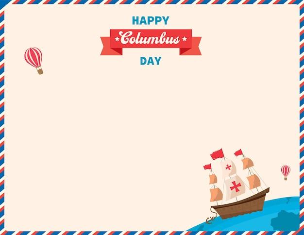 Illustrazione vettoriale del modello di sfondo happy columbus day.