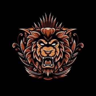 Illustrazione vettoriale testa di leone con texture grunge