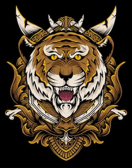Illustrazione vettoriale testa di tigre con ornamento incisione d'epoca.