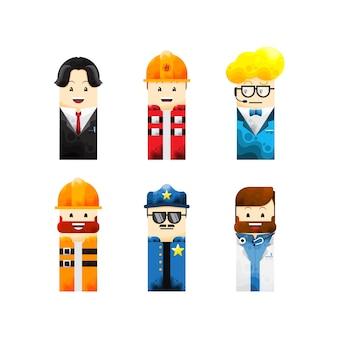 Illustrazione vettoriale di varie collezioni di avatar di carriere e professioni