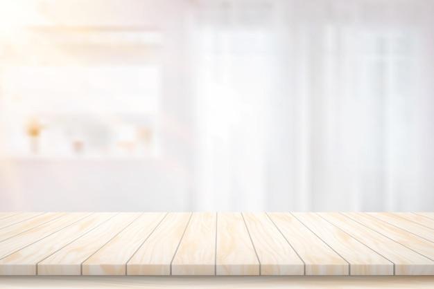 Illustrazione vettore piano del tavolo in legno e sfondo sfocato atmosfera luce della stanza anteriore che splende attraverso la tenda in casa.
