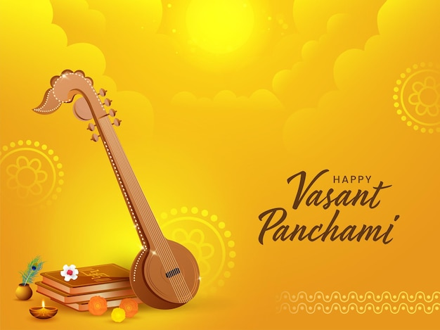 Illustrazione di strumento veena con libri sacri, fiori, lampada a olio accesa per felice vasant panchami.