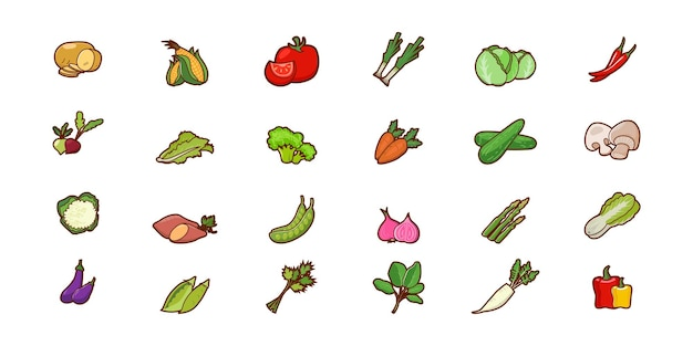 Illustrazione del disegno di vettore del fumetto delle verdure