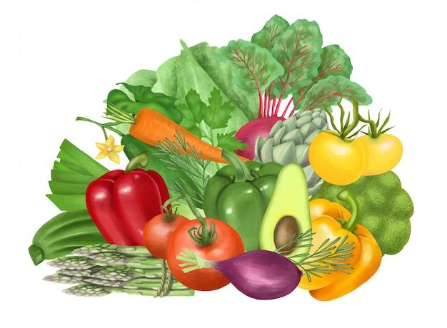 Illustrazione di verdure (pomodoro, carota, avocado, pepe, cetriolo, carciofo, broccoli, cavoli, asparagi), disegnati a mano