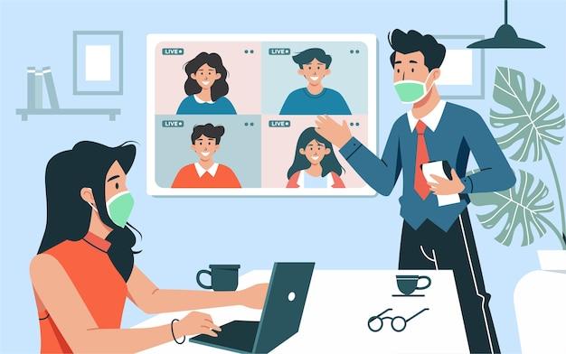 Illustrazione concetto di videoconferenza nella nuova normalità