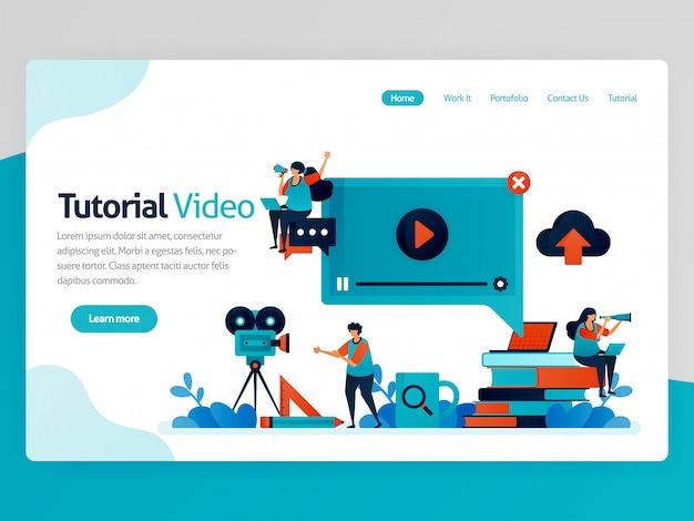 Illustrazione per la pagina di destinazione del video tutorial. piattaforma di apprendimento, produzione broadcast per l'educazione. apprendimento moderno. chat tutor e lezioni di webinar.