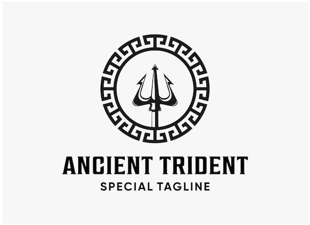 Illustrazione vintage antico tridente logo
