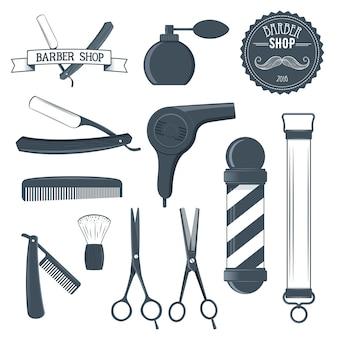 Illustrazione degli strumenti del negozio di barbiere vintage ed elemento di design