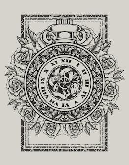 Illustrazione orologio vintage con fiore rosa