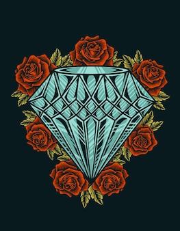 Illustrazione vintage diamante con fiore rosa