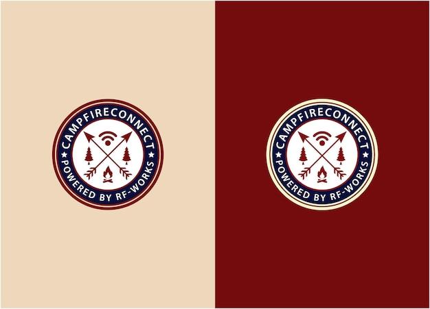Illustrazione vintage emblema campo con fuoco, segnale, pino icona logo segno disegno vettoriale