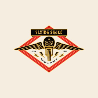Illustrazione vintage flying skull garage moto club logo badge