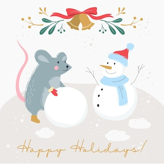 Illustrazione del poster vintage per natale e capodanno. decorazione della carta di festa in stile retrò. banner di natale con ratto e pupazzo di neve
