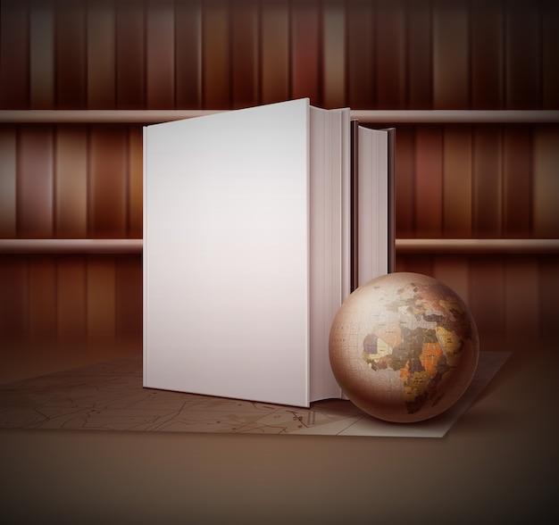 Illustrazione in stile vintage con piccolo globo vicino a due libri in piedi sulla mappa