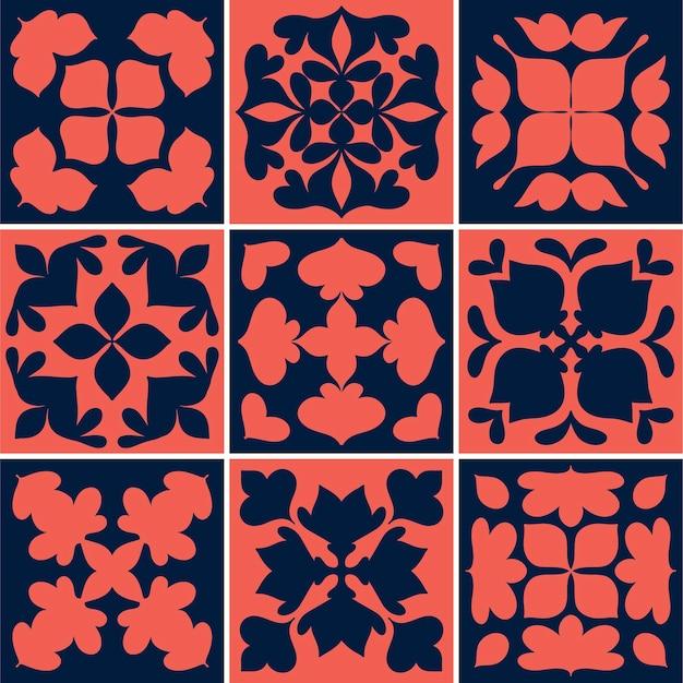 Illustrazione della collezione di modelli strutturati di piastrelle vintage