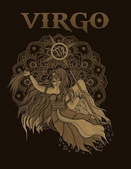Illustrazione simbolo zodiacale vergine con mandala