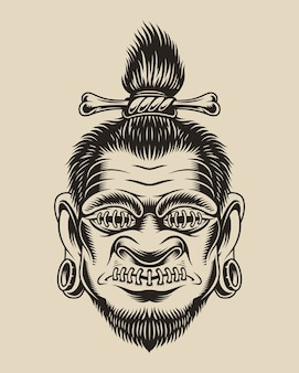 Illustrazione di una testa voodoo su uno sfondo bianco