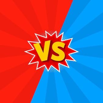 Illustrazione di vs come contro lettere in stile fumetto.