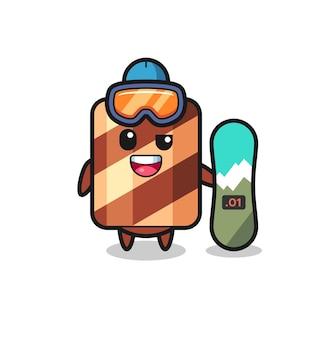 Illustrazione del personaggio del rotolo di wafer con stile snowboard, design in stile carino per maglietta, adesivo, elemento logo