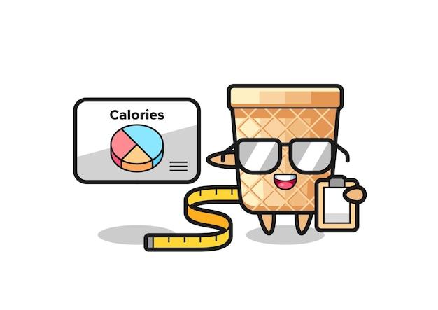 Illustrazione della mascotte del cono di cialda come dietista, design carino