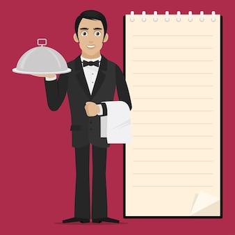 Il cameriere dell'illustrazione tiene il vassoio in mano, formato eps 10