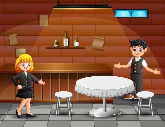 Illustrazione di un cameriere che invita i suoi clienti nella caffetteria