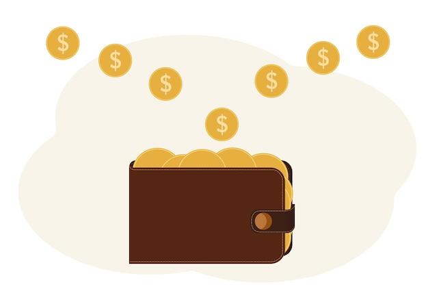 Illustrazione di un portafoglio pieno di monete con un'immagine di un dollaro