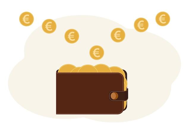 Illustrazione di un portafoglio pieno di monete con l'immagine dell'euro