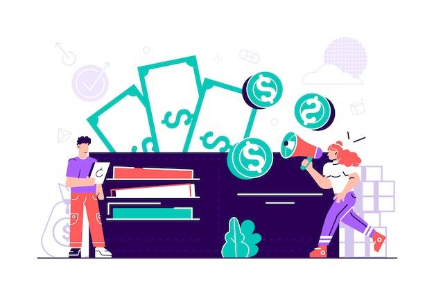 Illustrazione, portafoglio con banconote da un dollaro, concetto di pagamenti online, borsa aperta con monete. uomini e donne con grande portafoglio e pila di monete, pagamento online, portafoglio digitale e transfer.