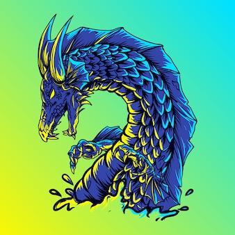 Illustrazione drago d'acqua