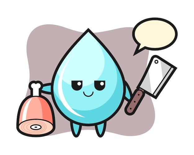 Illustrazione del personaggio goccia d'acqua come un macellaio, design in stile carino per t-shirt