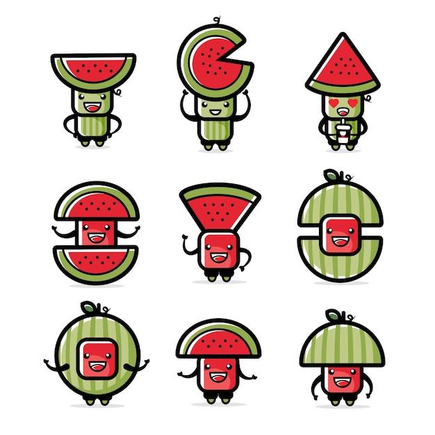 Illustrazione dei set di caratteri di anguria
