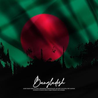 Illustrazione di sventolando bandiera del bangladesh seta grunge background