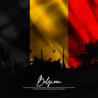 Illustrazione di sventolando bandiera belgio seta grunge background