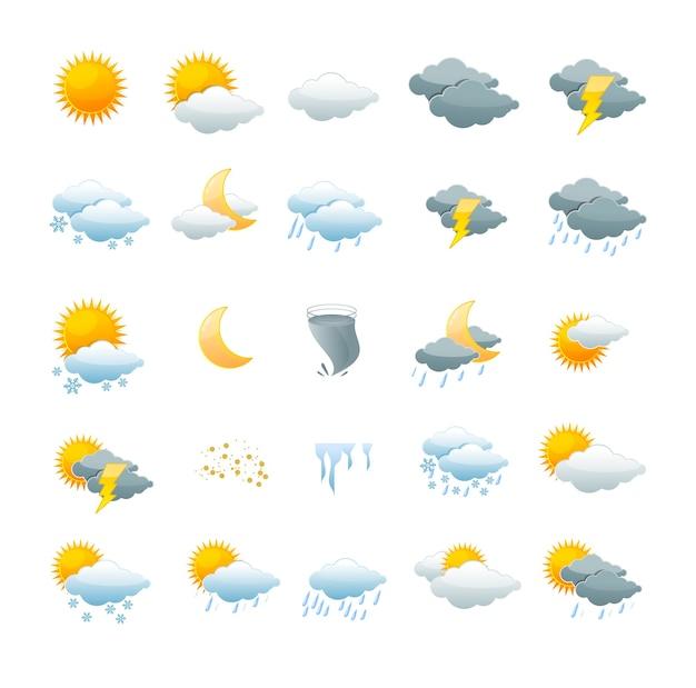 Illustrazione set di icone meteo isolato su uno sfondo bianco. il concetto di cambiamento climatico