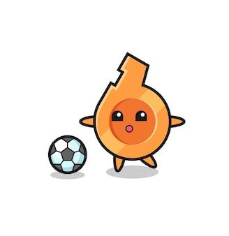 L'illustrazione del fumetto del fischio sta giocando a calcio, design carino