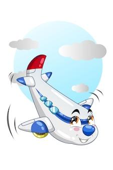 Illustrazione del fumetto dell'aeroplano blu bianco nel cielo blu