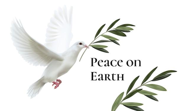 Illustrazione della colomba bianca della pace in volo con ramoscello di ulivo verde isolato su sfondo bianco con spazio per il testo