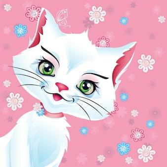 Illustrazione gatto bianco figa con fiori