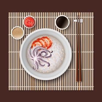 Illustrazione di riso bianco in una ciotola con gamberetti ai frutti di mare e soia polpo