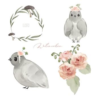 Illustrazione animali selvatici e fiori naturali