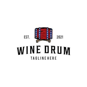 Etichetta della bevanda del vino dell'illustrazione con il design del logo vintage del segno dell'icona del tamburo di legno tradizionale
