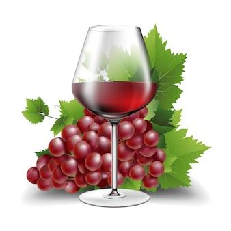 Illustrazione del bicchiere di vino con vino rosso e uva